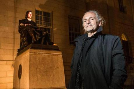 The John Harvard statue in Harvard Yard was brought to life by artist Krzysztof Wodiczko.